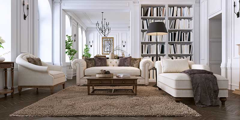 Modern living room with brown floors and furniture